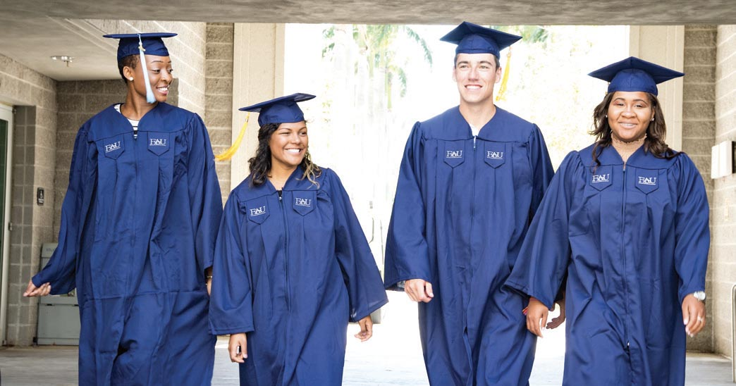 FAU students in cap and gowns